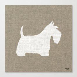 White Scottish Terrier Silhouette Canvas Print