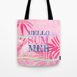 Hello Summer Typography Tropical in Pink Tote Bag