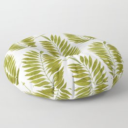 Olive Green Watercolor Palm Leaves Pattern Floor Pillow