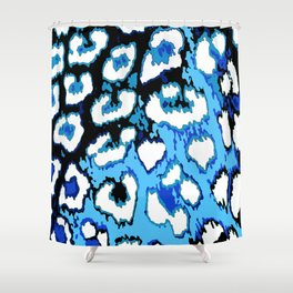 Black and Blue Leopard Spots Shower Curtain