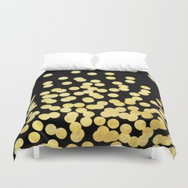 Cruz - Gold Foil Dots on Black - Scattered gold dots, polka dots, dots by Charlotte Winter Duvet Cover