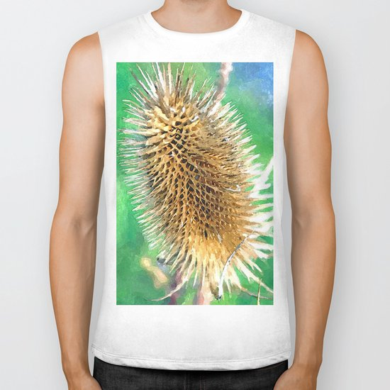 Thistle Head watercolour Biker Tank