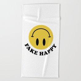 Fake Happy Smile Beach Towel