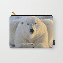 Majestic Giant Adult Polar Ice Bear Sitting On Cold Ground Close Up Ultra HD Carry-All Pouch