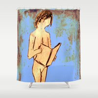 study Shower Curtains featuring Nude Study For Bookworms  by James Peart