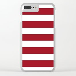 Ruby red - solid color - white stripes pattern Clear iPhone Case
