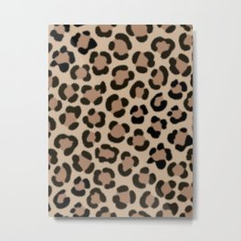 Trendy Leopard Print Simulated Fur Pattern Metal Print