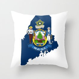 Maine Map with Flag of Maine Throw Pillow