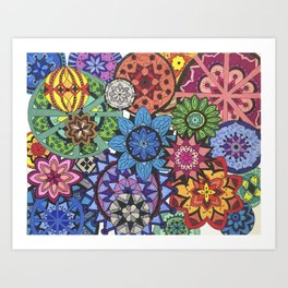 Rainbow Mandala collage Art Print