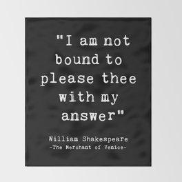 Shakespeare quote philosophy typography black white Throw Blanket