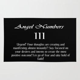 angel number 111 Black & White Affirmation Rug