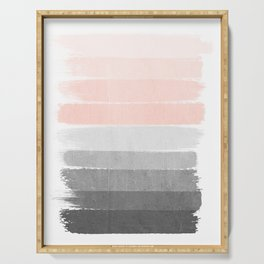 Color story millennial pink and grey transition brushstrokes modern canvas art decor dorm college Serving Tray