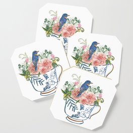 Blue Bird on Vintage Tea Cup Coaster