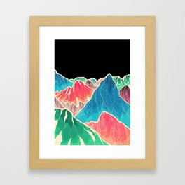 The glowing rocks of the mountains Framed Art Print
