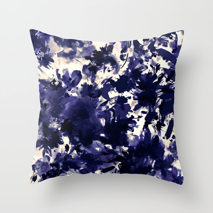 abstract floral in deep blue and black Throw Pillow