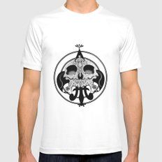 skull and pen White Mens Fitted Tee MEDIUM