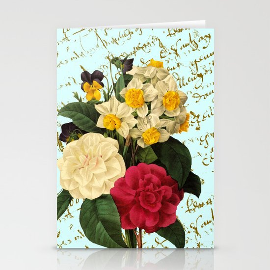 Botanical French Script Stationery Cards