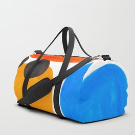 Abstract Mid Century Modern Colorful Minimal Pop Art Yellow Orange Blue Bubbles Ovals Duffle Bag