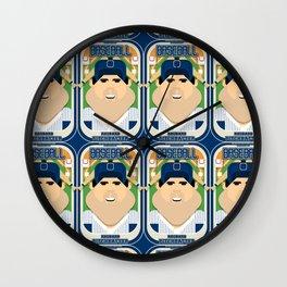 Baseball Blue Pinstripes - Rhubarb Pitchbatter - Victor version Wall Clock