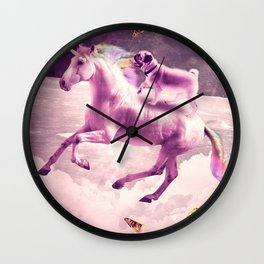Space Pug Riding On Flying Unicorn With Taco Wall Clock
