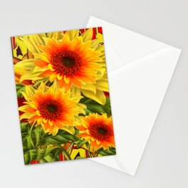 GOLDEN YELLOW KANSAS SUNFLOWERS RED ART Stationery Cards