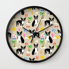 Boston Terrier beach summer vacation dog breed gifts must have boston terriers Wall Clock