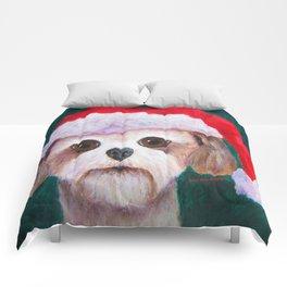 Christmas Shih Tzu By Annie Zeno Comforters