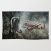 mother of dragons Area & Throw Rugs featuring Mother of Dragons by Flo Tucci