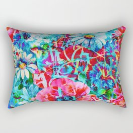 poppies and daisies with asiatic feel Rectangular Pillow