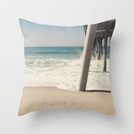 Hermosa Beach Pier Throw Pillow