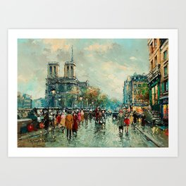 Notre-Dame Cathedral, City Streets of Paris by Antoine Blanchard Art Print