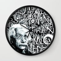 einstein Wall Clocks featuring Einstein.  by Will Santino