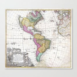Vintage Map of North and South America (1746) Canvas Print