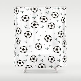 Fun grass and soccer ball sports illustration pattern Shower Curtain