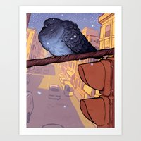 pigeon Art Prints featuring Pigeon by Jacob Sanders