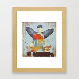 Crow Collage Framed Art Print