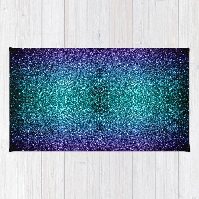 Beautiful Aqua Blue Ombre Glitter Sparkles Rug By Pldesign