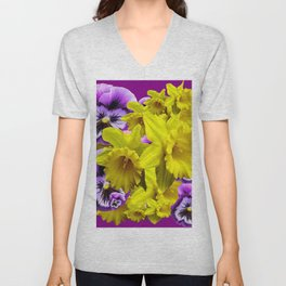 YELLOW SPRING DAFFODILS & LILAC PANSIES COLOR ART Unisex V-Neck