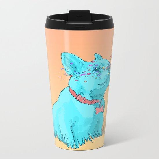 Psychedelic French Bulldog Metal Travel Mug