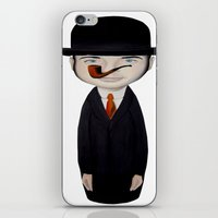 magritte iPhone & iPod Skins featuring omaggio a Magritte by beatrice alegiani