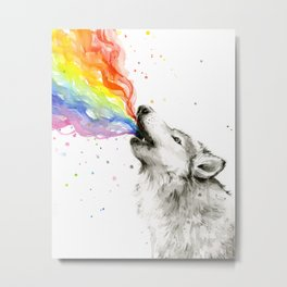 Wolf Howling Rainbow Watercolor Metal Print