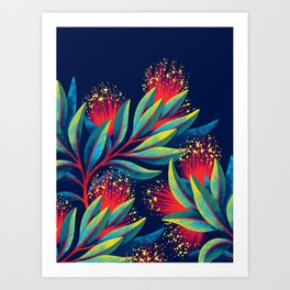 Pohutukawa - Red / Green Art Print