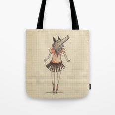 Woman Wolf at school Tote Bag