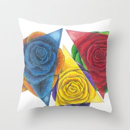 Complimentary Color Rose Trio With Geometric Triangles Throw Pillow