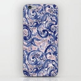 Vinage Lace Watercolor Blue Blush iPhone Skin