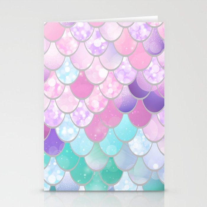 Mermaid Sweet Dreams, Pastel, Pink, Purple, Teal Stationery Cards