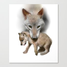 Wolf and Pup Canvas Print