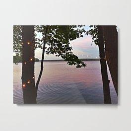 String Lights at Sunset on Lake Pemaquid in Damariscotta, Maine (2) Metal Print