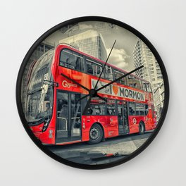 London Mormon Red Bus Wall Clock