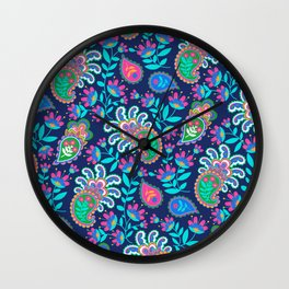 Pretty Bohemian Paisley Navy Green Turquoise and Pink Wall Clock